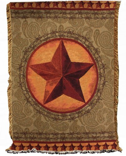 Manual Western Décor Collection 50 x 60-Inch Tapestry Throw, Western Star