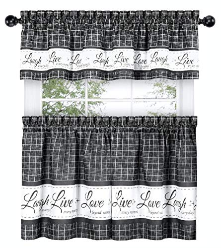 GoodGram Country Gingham Check Live~Laugh~Love 3 Pc. Café Plaid Kitchen Curtain Set - Assorted Colors & Sizes (Charcoal, 36 in. L)