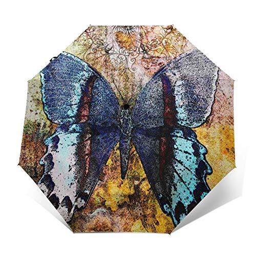 Paraguas Plegable Automático Impermeable Mandala de Mariposa Mandala, Paraguas De Viaje Compacto a Prueba De Viento, Folding Umbrella, Dosel Reforzado, Mango Ergonómico