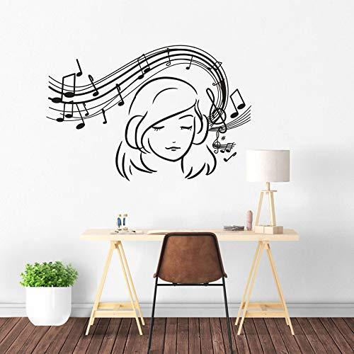 fdgdfgd Musik Note Wandaufkleber Mädchen Musik hören Vinyl Wandkunst Abziehbilder Musikstil Hauptdekoration Musik Lied Wandbilder 84x57cm