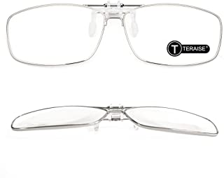 TERAISE Clip On Reading Glasses with Flip Up Function Metal full-Frame Clipped on prescription glasses Designed for myopia...