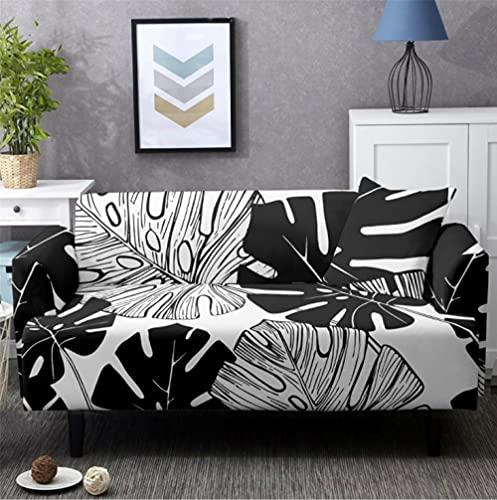 Sofa Cover Stretch Elastic Black White Leaves Printed Sofa Slipcover 3 Seater Polyester Spandex Furniture Decorative Soft Loveseat Couch Covers Chair Protector for Pets Kids Sofa Covers
