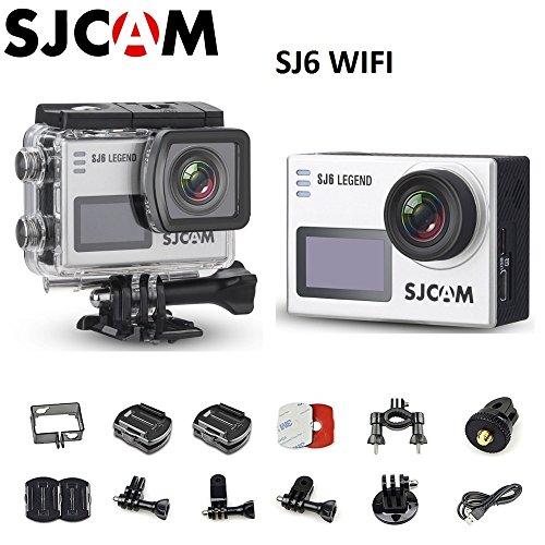 SJCAM SJ6 Legend Dual Screen 2″ LCD Touch Screen 2880×2160 Novatek NT96660 Panasonic MN34120PA CMOS 4K Ultra HD Sport DV Action Camera Silver+Extra 1 Battery