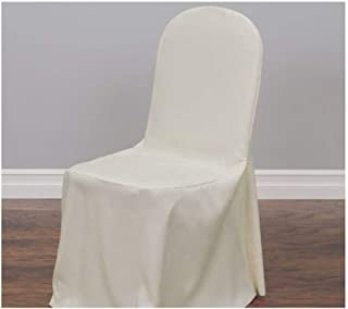 SPRINGROSE Ivory Polyester Standard Round Top Banquet Wedding Chair Covers (Set of 10). Chair Sash is Not Included.