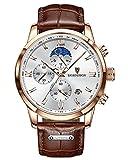 LIGE Relojes Hombres Moda Oro Deportes Cuarzo Reloj Impermeable Durable Marron Cuero Reloj Analogico Negocio Multifunción Cronografo Relojes