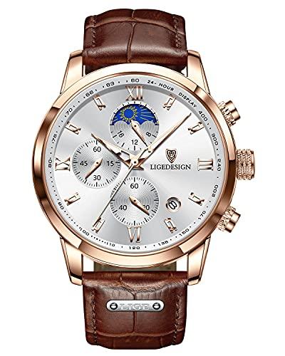 LIGE Herren Uhren Mode Wasserdicht Edelstahl Chronograph Multifunktions Analog Quartz Armbanduhr Herren mit Datum Leder Armbanduhr Männer