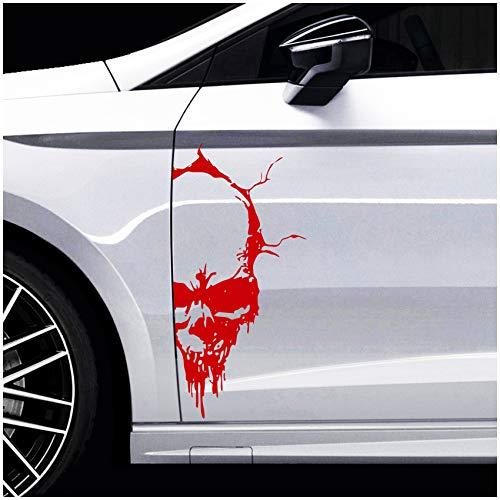 Finest Folia Skull Totenkopf Aufkleber Sticker Dekor Folie Autoaufkleber Tattoo für Auto LKW Wohnwagen (Karminrot, 50x24 cm (KX041))