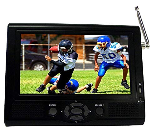 """Supersonic 7"""" Portable LCD TV with ATSC Digital Tuner, AC/DC Adapter and Rechargeable Battery SC-195D (Renewed)"""