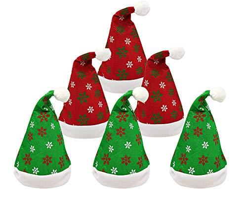 Pack 6 Gorro Papá Noel de Navidad de Santa Claus de Terciopelo de Felpe Suave Sombreros Navideño de Invierno para Fiesta Festiva de Año Nuevo para Adultos y Niños Unisex (Copo de nieve)