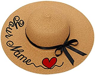 Personalized Custom Name Text Women Sun Hat Lace Ribbon Bow Large Brim Straw Hat Outdoor Beach hat Summer Cap