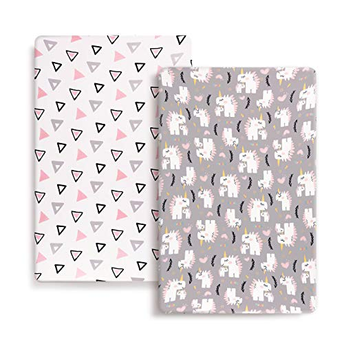 Stretch Ultra Soft Jersey Knit Fitted Pack n Play Playard Sheets Set 2 Pack,Fits Portable/Mini Cribs Sheets, Playards Mattress Pads, Pink Simple Triangle/Dream Unicorn for Girls