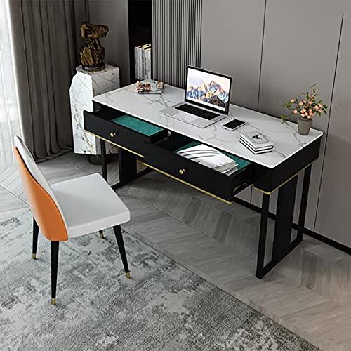 SWTOM Mesa de Ordenador Portátil Moderna Industrial Estación de Trabajo de Estudio de Escritura Marco de Metal Estable Cajón de Almacenamiento de Madera Resistente Oficina en casa