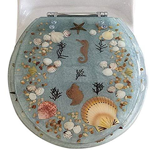 Daniel 's Bath & Beyond Polyresin rund Seepferdchen WC-Sitz, Aqua, 43,2cm