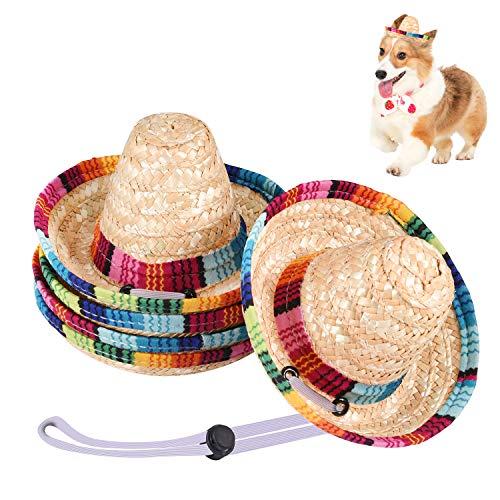 UIHOL Mexikanische Mini-Sombrero-Hüte, 16,3 cm, verstellbar, Cinco de Mayo Fiesta, Strohhut für Partygeschenke, Dekorationen, Kinder, Erwachsene, Haustiere, 5 Stück