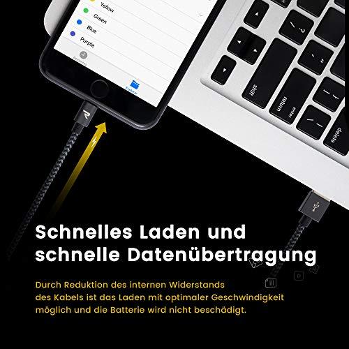 RAMPOW iPhone ladekabel, Lightning Kabel, Ladekabel iPhone 6 - [Apple MFi Zertifiziert] Lightning Kabel Kompatibel mit iPhone 12/11 / XR/XS/X / 8/7 / 6, iPad und mehr - iOS 14-1m Grau
