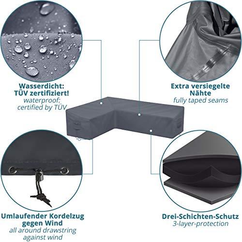 Abdeckung für L-Form Gartenmöbel & Loungemöbel 210x270x90cm Lounge Abdeckplane für L Form Gartenlounge - 2