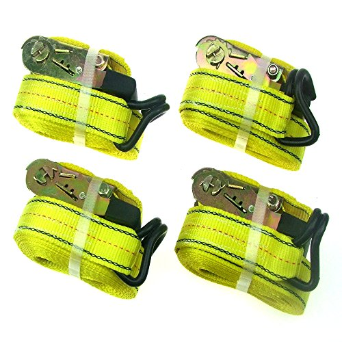 HFS 4pcs 1-1/2 x 15 ft Heavy Duty Ratchet Cargo Tie Down Straps 3000 lbs Dual J-Hooks
