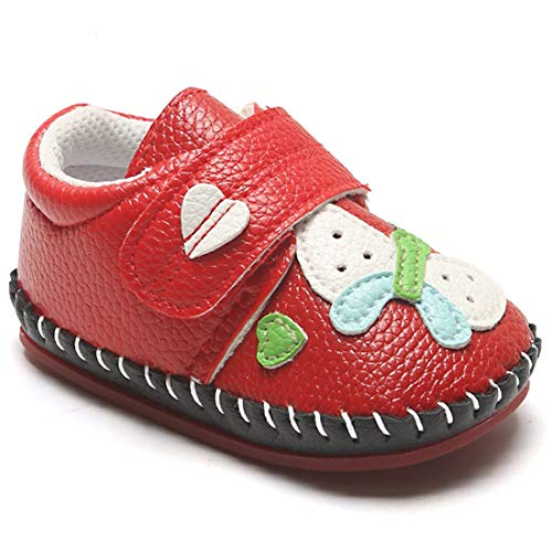 Mybbay Infant Baby Girls Boys Walking Sneakers Cartoon Slippers Non Slip Rubber Sole Hard Bottom Toddler First Walkers Crib Shoes 01 Red+butterfly 12-18 Months Toddler