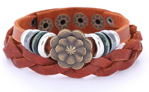 Morella Damen Lederarmband braun geflochten mit Ringen und Blume
