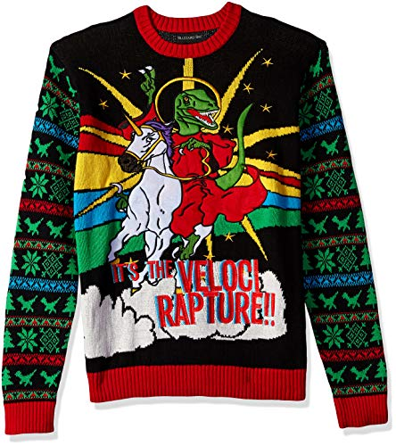 Blizzard Bay Men's Ugly Christmas Sweater Dinosaur, Black/Red, Small