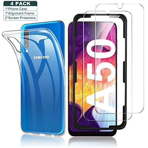 Yocktec Hülle + Panzerfolie Displayschutzfolie für Samsung Galaxy A50/A30s, 9H Gehärtetes Glas Folie mit Transparent Handyhülle Schutzhülle Soft TPU Bumper Case Cover für Samsung Galaxy A50