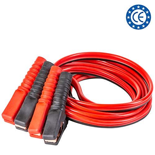 4CARS Hochleistungskupfer-Starthilfekabel, Starterkabel, vollisolierte Klammer; für Benzin- oder Diesel-PKW und LKW, 2,5 m lang, ausgelegt für bis zu 200 A (Inklusive Reißverschlusstasche mit Griff)