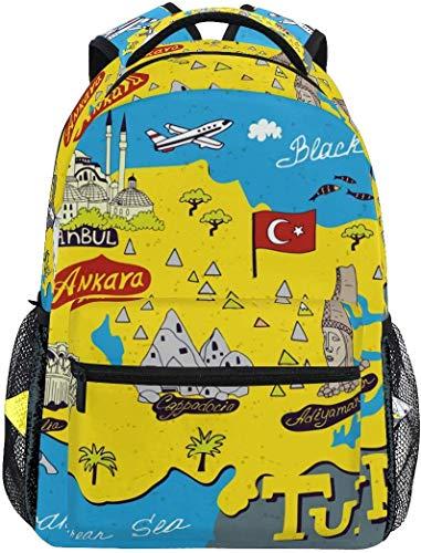 WKLNM Beach Wereldkaart Turkije Casual Rugzak Student School Tas Reizen Wandelen Camping Laptop Daypack