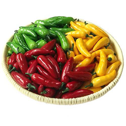 Lihou 60pcs Artificial realista simulación pequeñas pimentero Chili pimientos falsa verduras (amarillo rojo y verde) cada color 20piezas