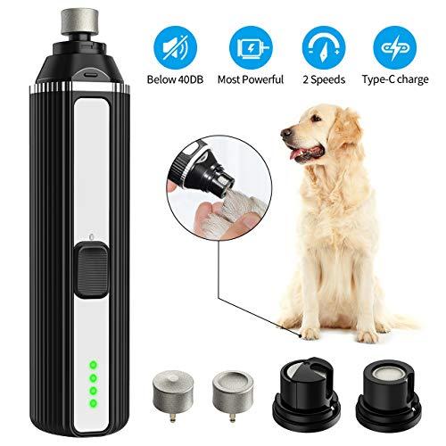 OKMEE Krallenschleifer für Hunde und Katzen Zwei Superkraft-Geschwindigkeiten, 40 Dezibel super-leise Lärm, USB-Anschluß, 2 Schleifköpfen
