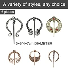 DURANTEY 6 PCS Vintage Viking Brooch Medieval Cloak Pin Antique Sliver & Rose Gold Scarf Shawl Buckle Clasp Pin Zinc Alloy Penannular Brooch for Clothing Jewelry Costume Accessory(5~6cm*4~7cm) #1
