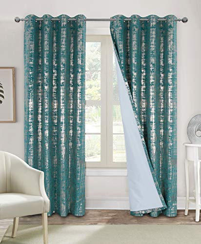 100% Blackout Window Curtains for Bedroom Living Room Velvet Room Darkening Curtains 84 Inches Long Luxury Gold Foil Print Drapes 2 Panels Teal
