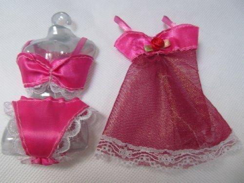 fat-catz-copy-catz - Puppen Unterwäsche 5 Farben für Barbie und Sindy Puppen 4-teiliges Set BH, Unterhöschen und Babydoll Top (Puppe Nicht im Lieferumfang enthalten) - Kirschrotes Unterwäsche-Set