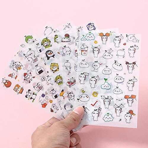 Stickers met schattige cartoons, transparante PVC-stickers, waterbestendig, creatieve stickers met diermotieven (10 willekeurige foto's)