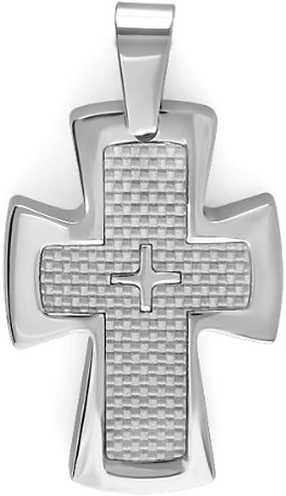 Dazzlingrock Collection Stainless Steel White Carbon Fiber Inlay Mens Religious Cross Pendant (1.25 inch x 1.75 inch)