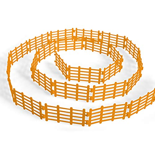 YUCAN 50PCS Toys Fence Horse Corral Fencing Accessories Playset, Mini Plastic Garden Fence Toys Farm Animals Horses Figurines, Fence Panels, Paddock Toys, Cake Toppers for Kids (Y Yellow)
