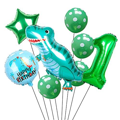 HXLFYM 9 Teile/Los Dinosaurier Party 32 Zollgrüne Zahl Folie Ballons Geburtstagsfeier Dekorationen für Kinder Baby Latex Spielzeug (Color : C1)