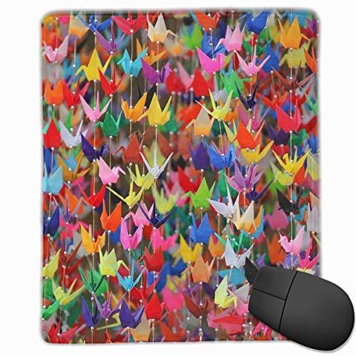 Alfombrilla de ratón para juegos, diseño de grúas de papel de origami, personalización personalizada para juegos y oficina alfombrilla de ratón de borde cosido oficina más gruesa alfombrilla de ratón