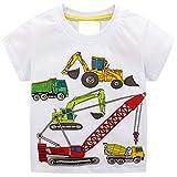 EU World Garçons T-Shirts Enfants À Manches Courtes Voitures Grue Pelle Imprimé Coton Blanc Tops T-Shirts Tenues Dessin Animé Motif Mode Été Bébé Âge 1-8 Ans