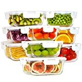 Bayco Glass Food Storage Containers with Lids, [18 Piece] Glass Meal Prep Containers, Airtight Glass Lunch Bento Boxes, BPA-Free & Leak Proof (9 lids & 9 Containers) - White