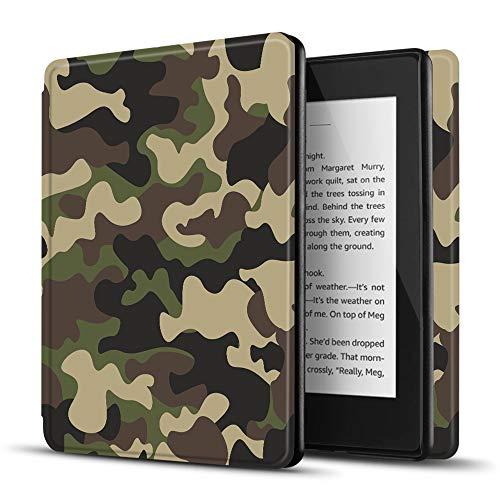 TNP Funda Protectora para Amazon Kindle Paperwhite 10a Generación 2018/2019/2020, Carcasa Inteligente Delgada y Ligera de Cuero con Función de Auto-Sueño para E-Reader (Camuflaje Amarillo)