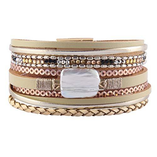 AZORA - Pulsera de piel barroca con cierre magnético, color beige