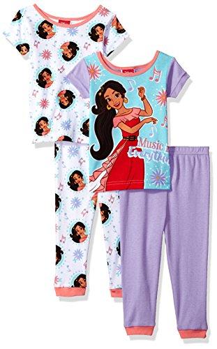 Disney Girls Toddler Elena of Avalor 4-Piece Cotton Pajama Set, NOTA Musical, 2T