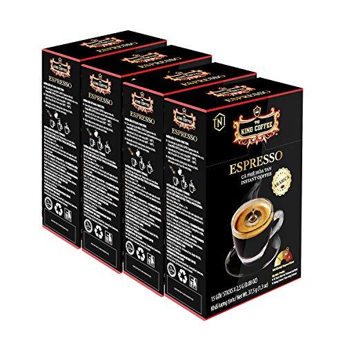 King Coffee Espresso Instant Coffee Vietnamese Coffee Arabica Instant Coffee Mix Medium Roast 15 sticks per box x 2.5g - Pack of 4