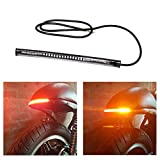 """LED Motorcycle Tail Light with Turn Signals, 48LED 8"""" Flexible Brake Stop License Plate Lights Integrated for Harley Davidson Motorcycle/Bike/ATV/RV/SUV(1xAmber Red)"""