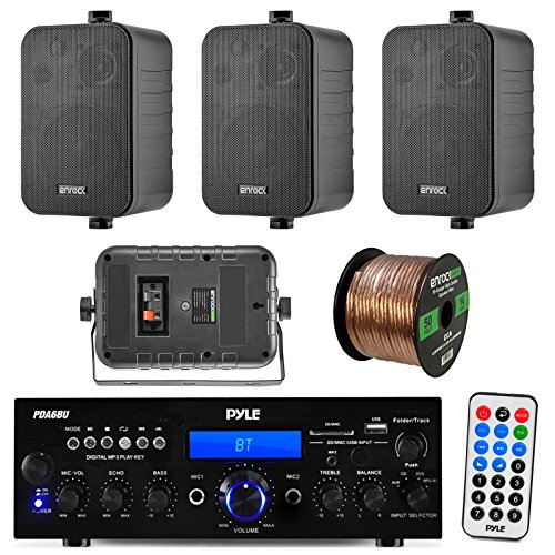 Pyle PDA6BU 200-Watt 2-Channel Digital USB/AUX FM Radio Stereo Amplifier Receiver, Bundle Combo with 4X Enrock EKMR408B 4' Inch 200-Watt 3-Way Black Box Speakers, 50 Feet 18-Gauge Speaker Wire