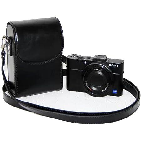 Mercs カメラケース ソニ Sony RX100 専用 ミラーレス一眼 汎用型 高級PU 多機種互換 ショルダーベルト付き ブラック