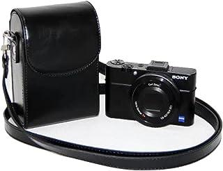 Mercs 高級合皮レザー ミラーレス一眼 汎用型 カメラケース Sony RX100 専用 多機種互換 ショルダーベルト付 (ブラック)