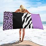 Animal Print Zebra Stripes Leopard Spots Toalla de baño Natación Toalla de baño Accesorios de baño Toallas de Playa de Microfibra Estera de Yoga - 75 * 150cm