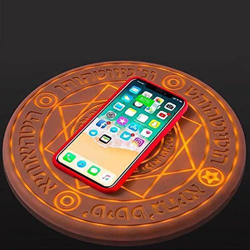 Cargador Inalámbrico De Dos Elementos 10w Glowing Magic Array, Almohadilla De Carga Inalámbrica Rápida Qi Ultradelgada Light Up Circle para iPhone 11 X XS XR Samsung S10 S20 Note 20 Huawei