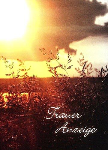 Traueranzeigen Trauerkarten Sterbefall mit Innentext Motiv Sonnenuntergang 10 Klappkarten DIN A6 im Hochformat mit weißen Umschlägen K71